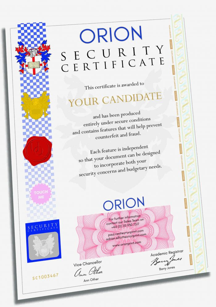 Certificate Printing Example